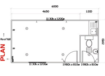 Plan 11, Portable Lunchroom w/ toilet - 6.0m x 3.0m
