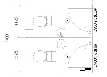 Plan 17, 2.4m x 2.4m 2 Pan Ablution Building