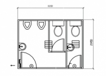 Plan 18, 3.2 x 3.0m 2 pan - 2 urinal Ablution Building