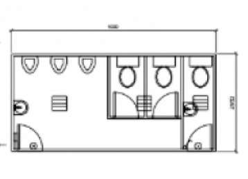 Plan 19, 5.0m x 3.0m 3 pan and 3 urinal Ablution Building