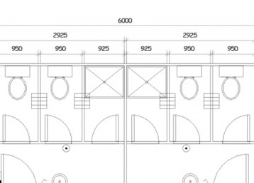 Plan 21, 6.0m x 3.0m, 2 pan and 1 shower x2 Ablution Building
