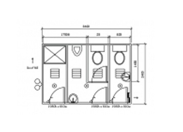 Plan 22, 3.6m x 2.4m 2 Pan/1 Shower Ablution Building