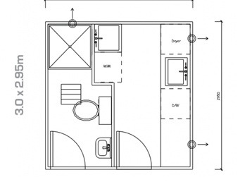 Plan 23, 3.0m x 2.95m Laundry and Shower Utility Building