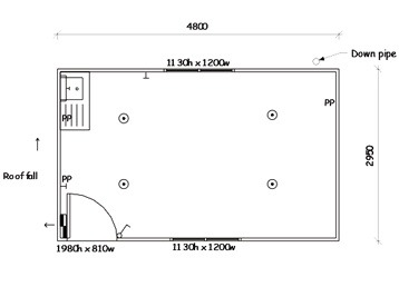 Plan 6, Portable Lunchroom - 4.8m x 3.0m